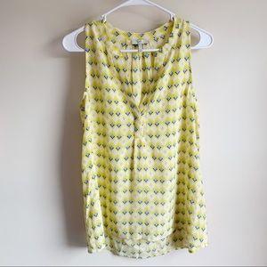Joie Aruna Silk Sleeveless Yellow Diamond Tank Top